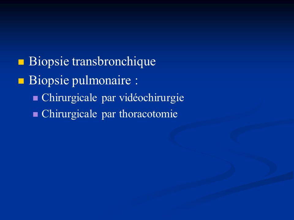 Biopsie transbronchique Biopsie pulmonaire : Chirurgicale par vidéochirurgie Chirurgicale par thoracotomie