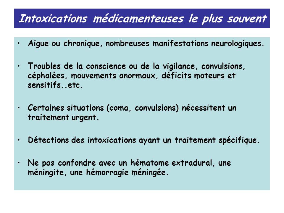 Intoxications médicamenteuses le plus souvent Aigue ou chronique, nombreuses manifestations neurologiques. Troubles de la conscience ou de la vigilanc