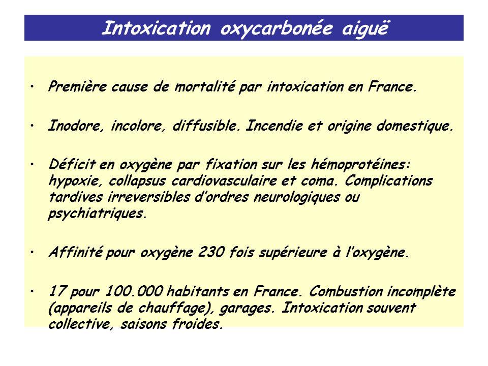 Intoxication oxycarbonée aiguë Première cause de mortalité par intoxication en France. Inodore, incolore, diffusible. Incendie et origine domestique.