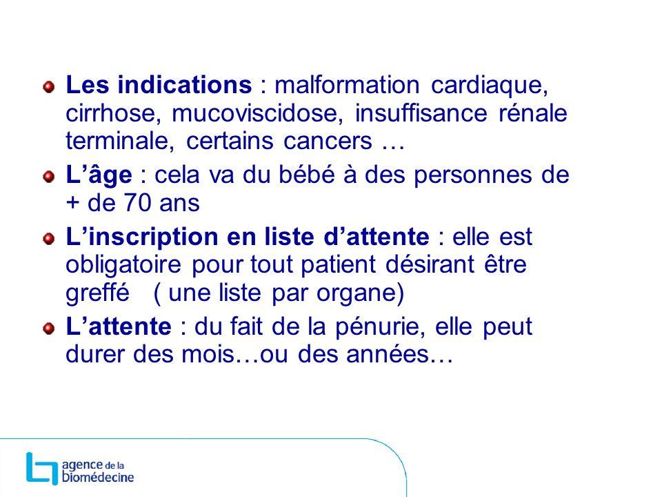 Les indications : malformation cardiaque, cirrhose, mucoviscidose, insuffisance rénale terminale, certains cancers … Lâge : cela va du bébé à des pers
