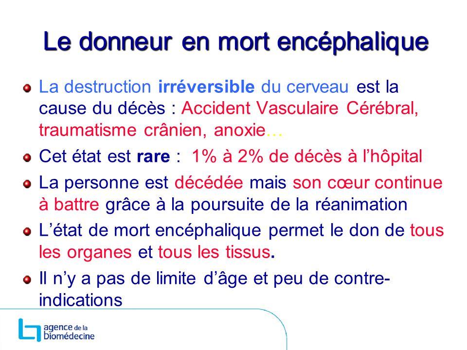 Le donneur en mort encéphalique La destruction irréversible du cerveau est la cause du décès : Accident Vasculaire Cérébral, traumatisme crânien, anox