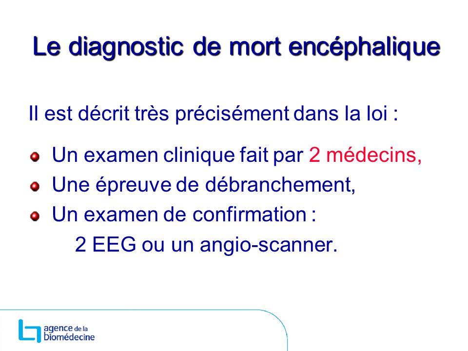 Le diagnostic de mort encéphalique Il est décrit très précisément dans la loi : Un examen clinique fait par 2 médecins, Une épreuve de débranchement,