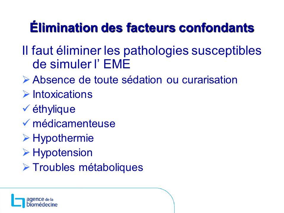 Élimination des facteurs confondants Il faut éliminer les pathologies susceptibles de simuler l EME Absence de toute sédation ou curarisation Intoxica