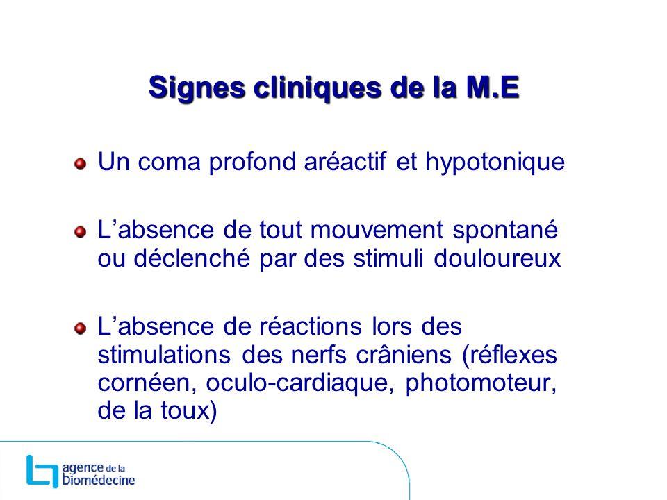 Signes cliniques de la M.E Un coma profond aréactif et hypotonique Labsence de tout mouvement spontané ou déclenché par des stimuli douloureux Labsenc