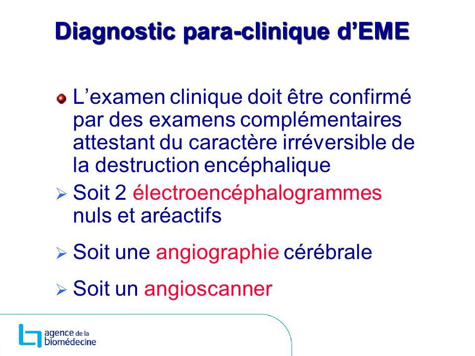 Diagnostic para-clinique dEME Lexamen clinique doit être confirmé par des examens complémentaires attestant du caractère irréversible de la destructio