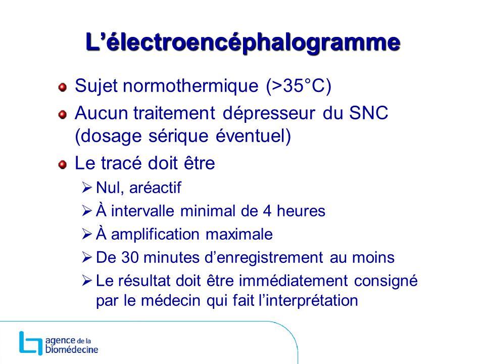 Lélectroencéphalogramme Sujet normothermique (>35°C) Aucun traitement dépresseur du SNC (dosage sérique éventuel) Le tracé doit être Nul, aréactif À i