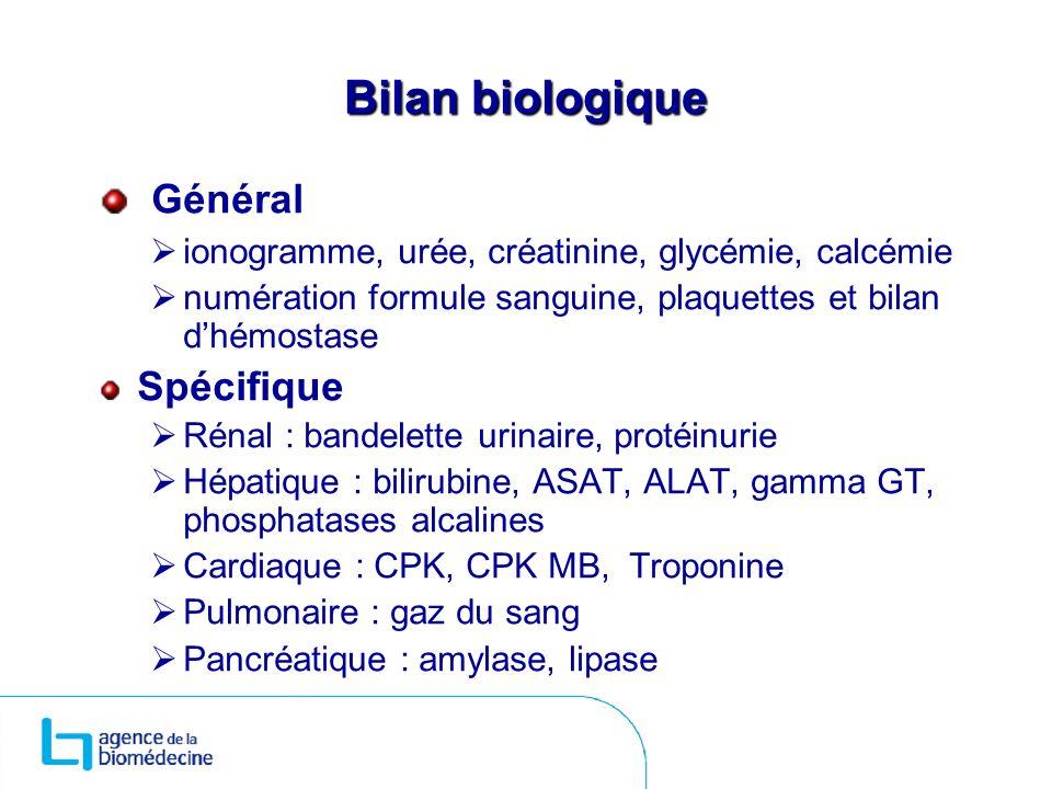 Bilan biologique Général ionogramme, urée, créatinine, glycémie, calcémie numération formule sanguine, plaquettes et bilan dhémostase Spécifique Rénal