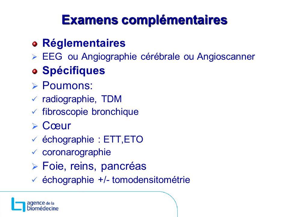 Examens complémentaires Réglementaires EEG ou Angiographie cérébrale ou Angioscanner Spécifiques Poumons: radiographie, TDM fibroscopie bronchique Cœu