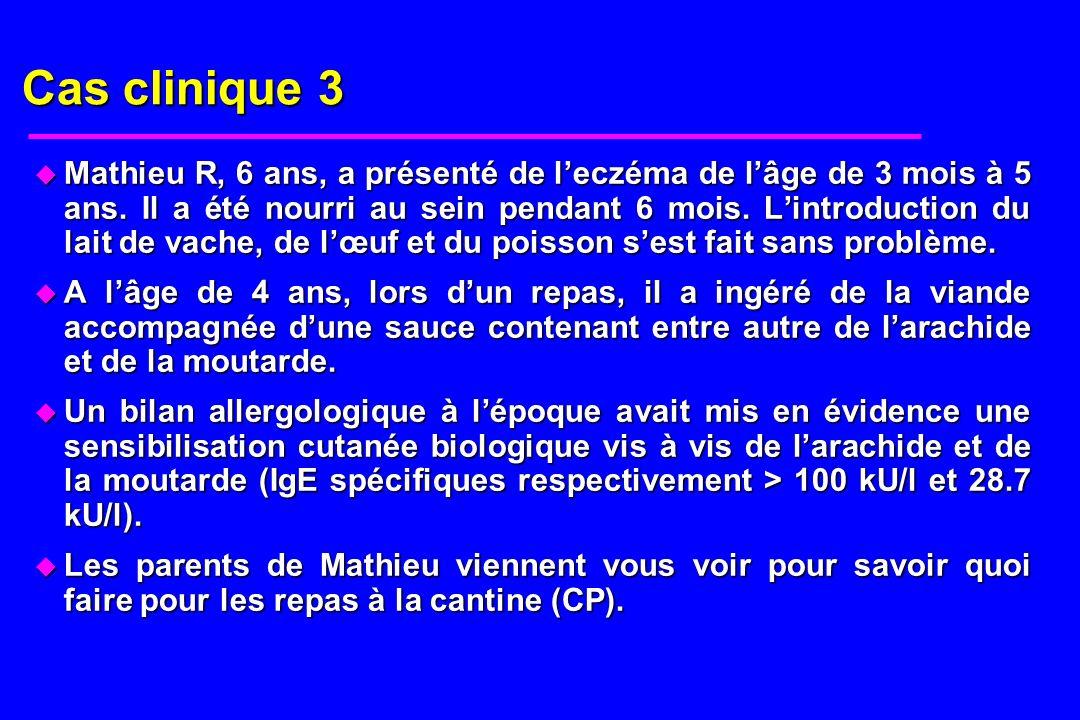 Cas clinique 3 u Mathieu R, 6 ans, a présenté de leczéma de lâge de 3 mois à 5 ans. Il a été nourri au sein pendant 6 mois. Lintroduction du lait de v