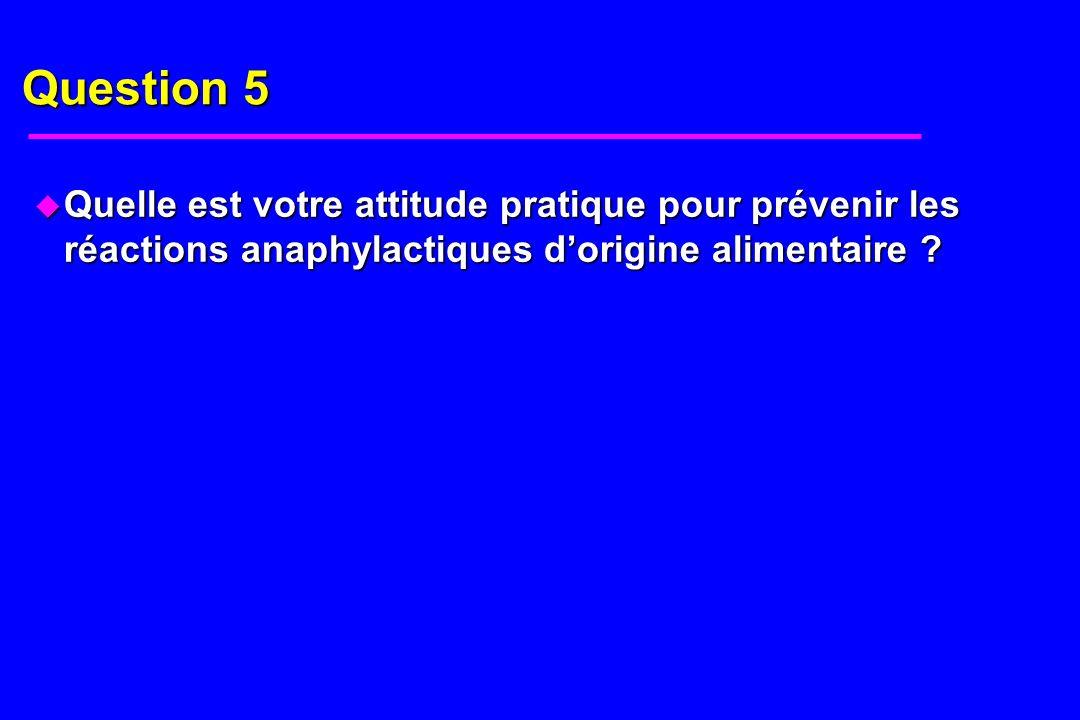 Question 5 u Quelle est votre attitude pratique pour prévenir les réactions anaphylactiques dorigine alimentaire ?