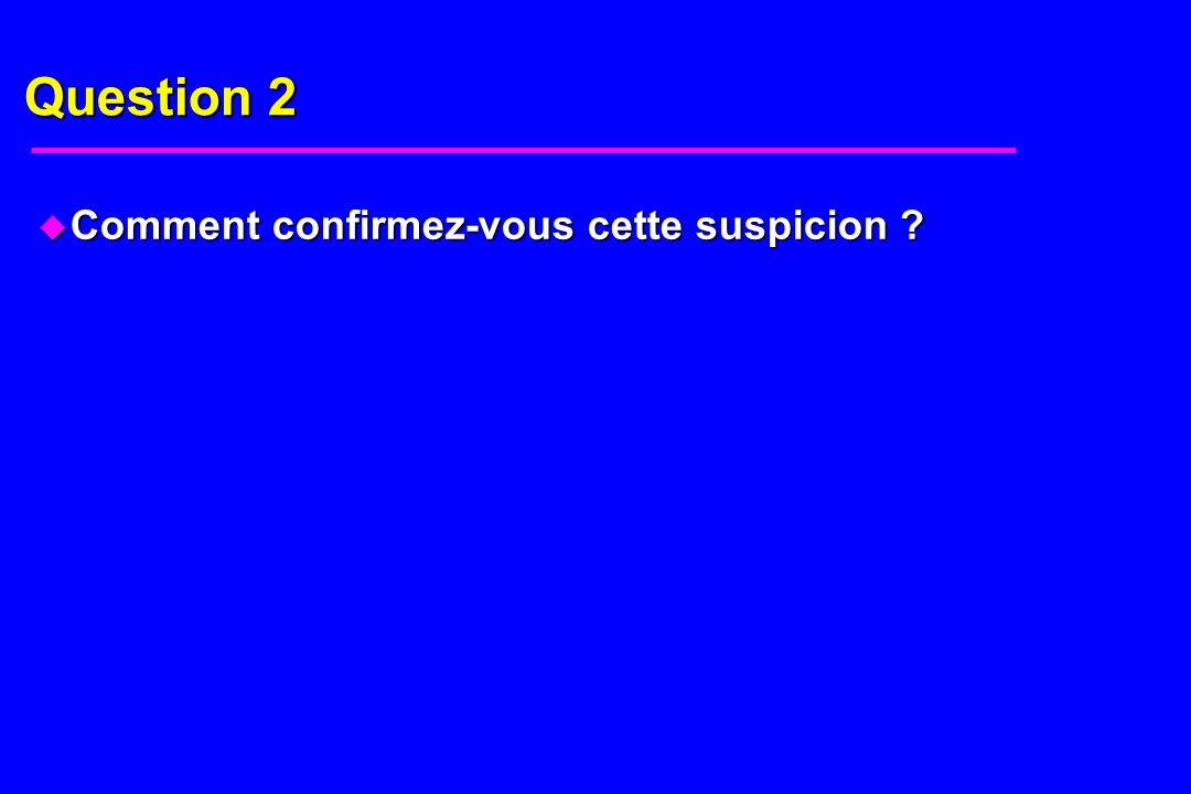 Question 2 u Comment confirmez-vous cette suspicion ?