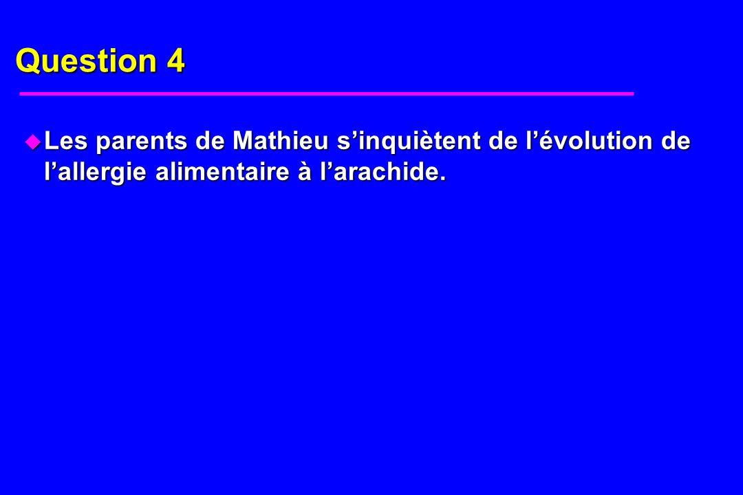 Question 4 u Les parents de Mathieu sinquiètent de lévolution de lallergie alimentaire à larachide.