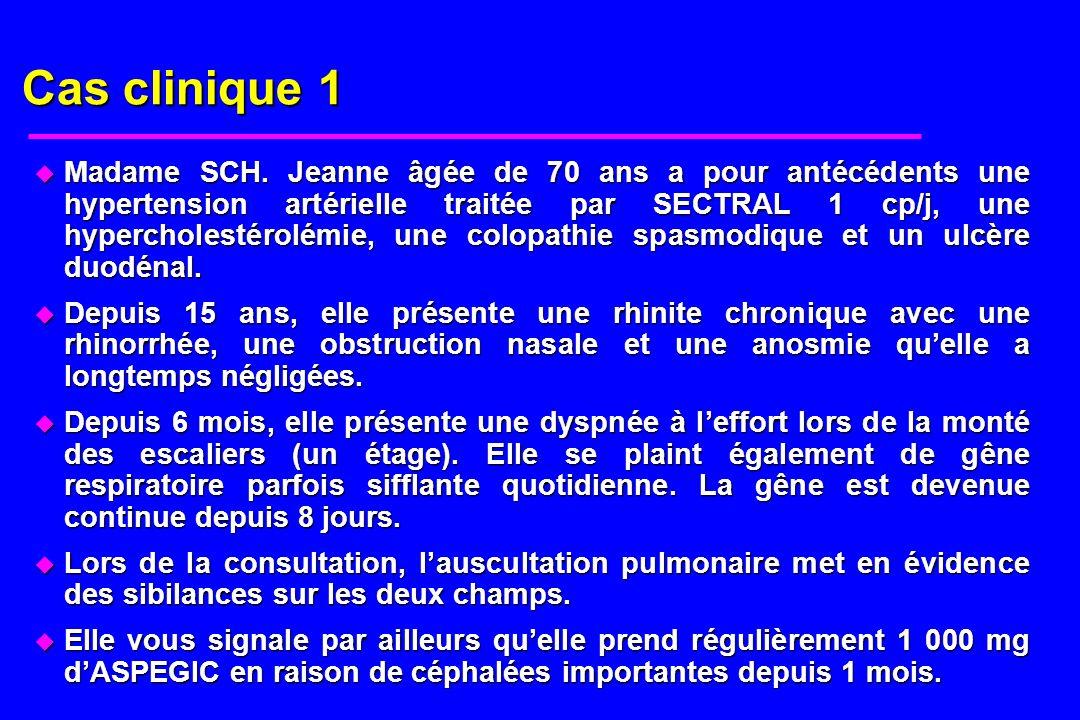 Cas clinique 1 u Madame SCH. Jeanne âgée de 70 ans a pour antécédents une hypertension artérielle traitée par SECTRAL 1 cp/j, une hypercholestérolémie