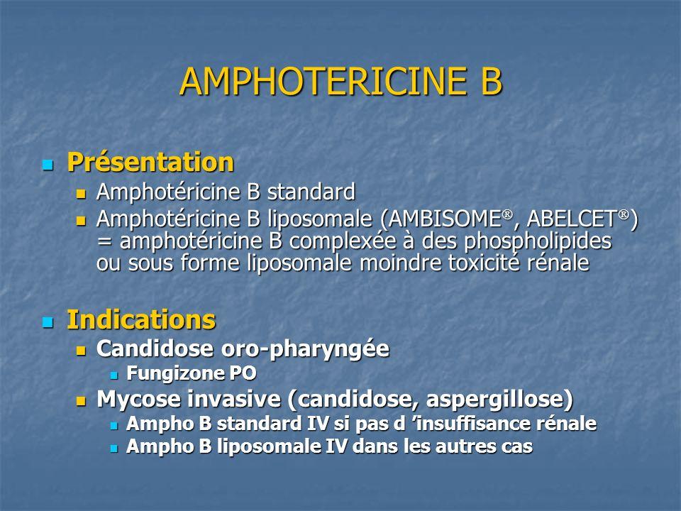 AMPHOTERICINE B Présentation Présentation Amphotéricine B standard Amphotéricine B standard Amphotéricine B liposomale (AMBISOME, ABELCET ) = amphotér