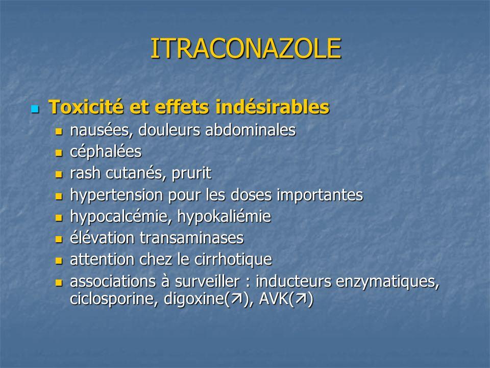 ITRACONAZOLE Toxicité et effets indésirables Toxicité et effets indésirables nausées, douleurs abdominales nausées, douleurs abdominales céphalées cép