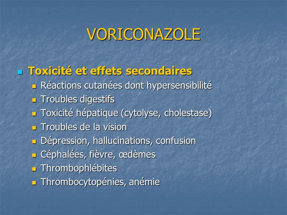 VORICONAZOLE Toxicité et effets secondaires Toxicité et effets secondaires Réactions cutanées dont hypersensibilité Réactions cutanées dont hypersensi