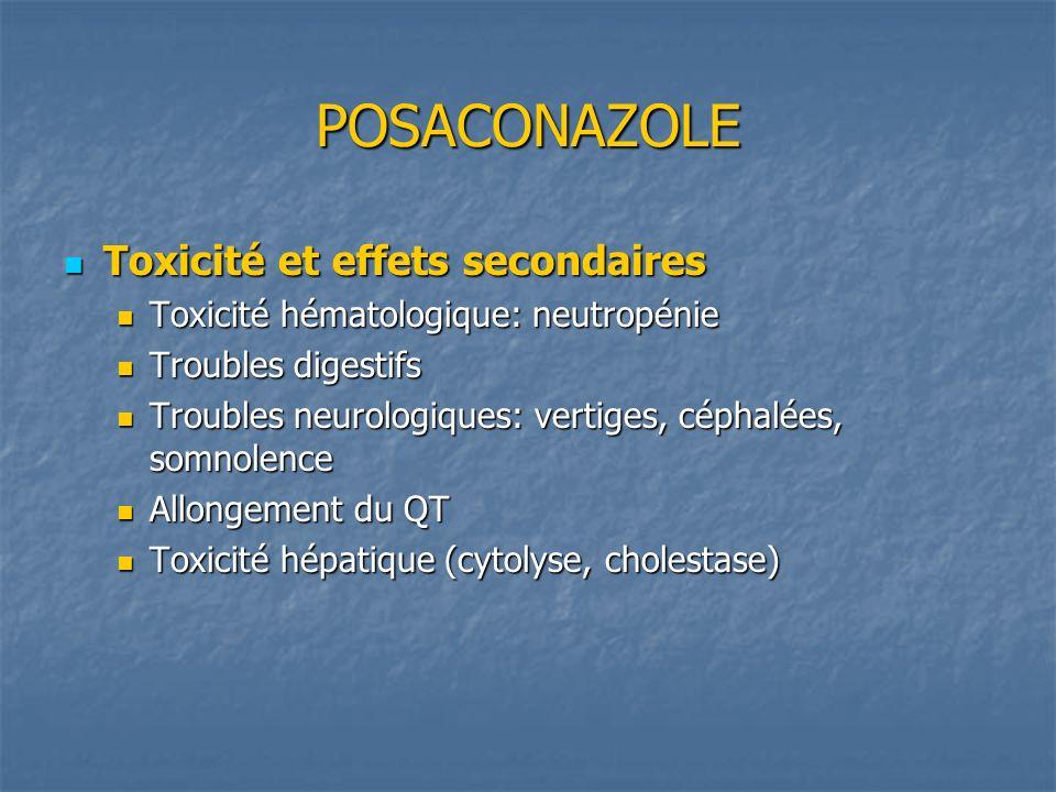 POSACONAZOLE Toxicité et effets secondaires Toxicité et effets secondaires Toxicité hématologique: neutropénie Toxicité hématologique: neutropénie Tro