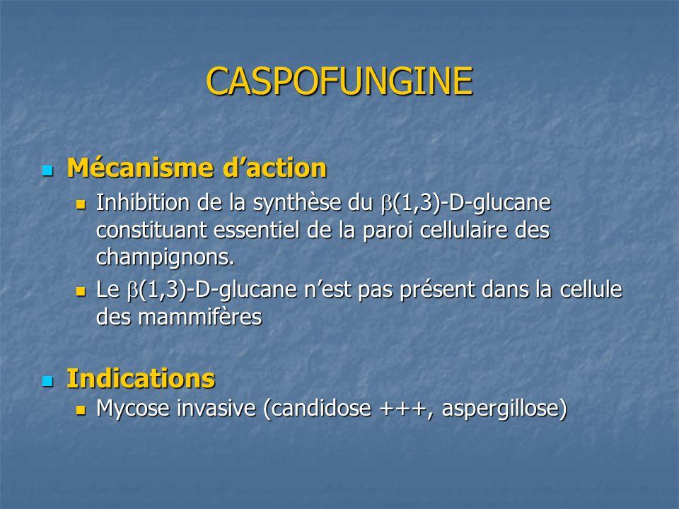 CASPOFUNGINE Mécanisme daction Mécanisme daction Inhibition de la synthèse du (1,3)-D-glucane constituant essentiel de la paroi cellulaire des champig