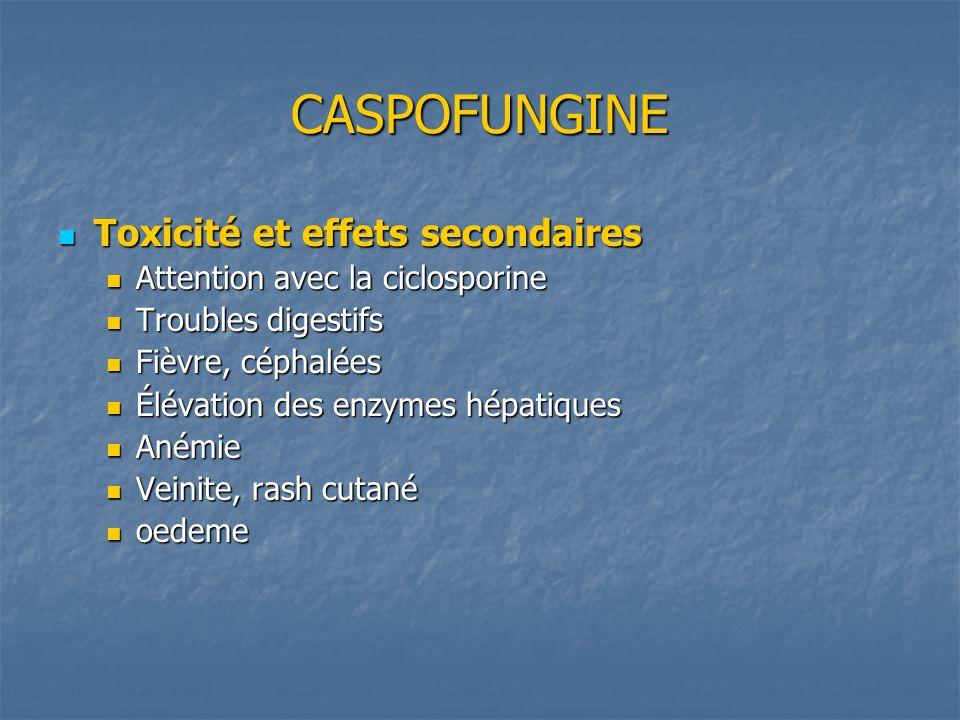 CASPOFUNGINE Toxicité et effets secondaires Toxicité et effets secondaires Attention avec la ciclosporine Attention avec la ciclosporine Troubles dige