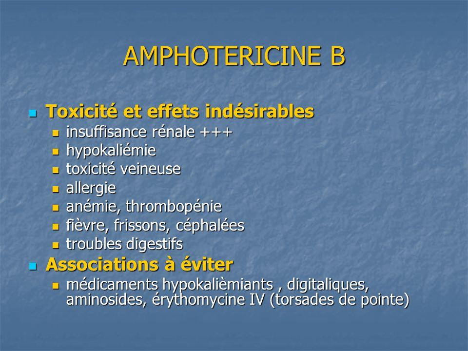 AMPHOTERICINE B Présentation Présentation Amphotéricine B standard Amphotéricine B standard Amphotéricine B liposomale (AMBISOME, ABELCET ) = amphotéricine B complexée à des phospholipides ou sous forme liposomale moindre toxicité rénale Amphotéricine B liposomale (AMBISOME, ABELCET ) = amphotéricine B complexée à des phospholipides ou sous forme liposomale moindre toxicité rénale Indications Indications Candidose oro-pharyngée Candidose oro-pharyngée Fungizone PO Fungizone PO Mycose invasive (candidose, aspergillose) Mycose invasive (candidose, aspergillose) Ampho B standard IV si pas d insuffisance rénale Ampho B standard IV si pas d insuffisance rénale Ampho B liposomale IV dans les autres cas Ampho B liposomale IV dans les autres cas