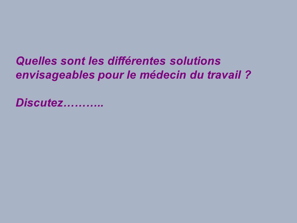 Quelles sont les différentes solutions envisageables pour le médecin du travail ? Discutez………..