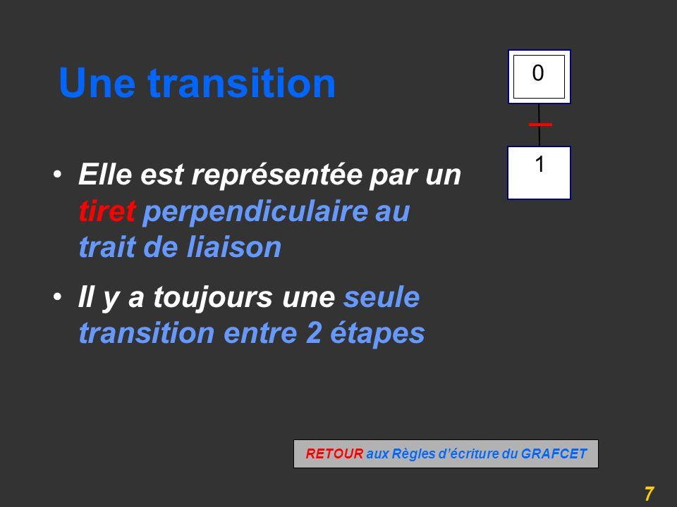 7 Une transition Elle est représentée par un tiret perpendiculaire au trait de liaison Il y a toujours une seule transition entre 2 étapes 1 0 RETOUR aux Règles décriture du GRAFCET