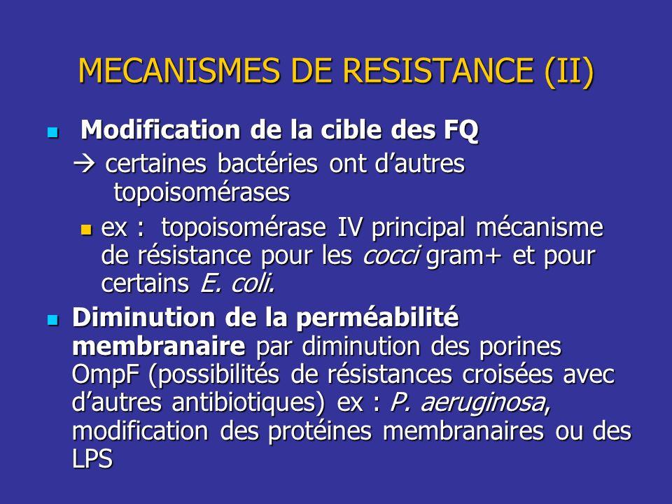 Modification de la cible des FQ Modification de la cible des FQ certaines bactéries ont dautres topoisomérases certaines bactéries ont dautres topoiso