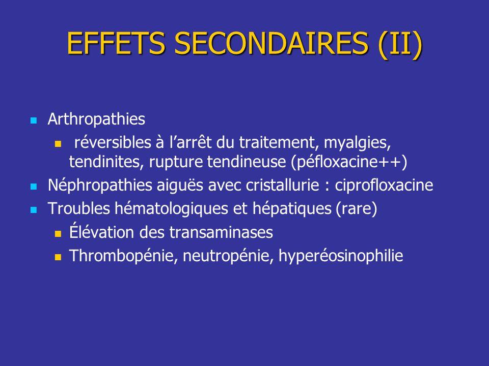 Arthropathies réversibles à larrêt du traitement, myalgies, tendinites, rupture tendineuse (péfloxacine++) Néphropathies aiguës avec cristallurie : ci