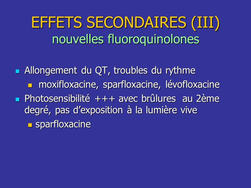 Allongement du QT, troubles du rythme Allongement du QT, troubles du rythme moxifloxacine, sparfloxacine, lévofloxacine moxifloxacine, sparfloxacine,