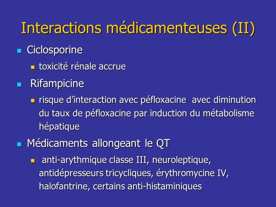 Interactions médicamenteuses (II) Ciclosporine Ciclosporine toxicité rénale accrue toxicité rénale accrue Rifampicine Rifampicine risque dinteraction