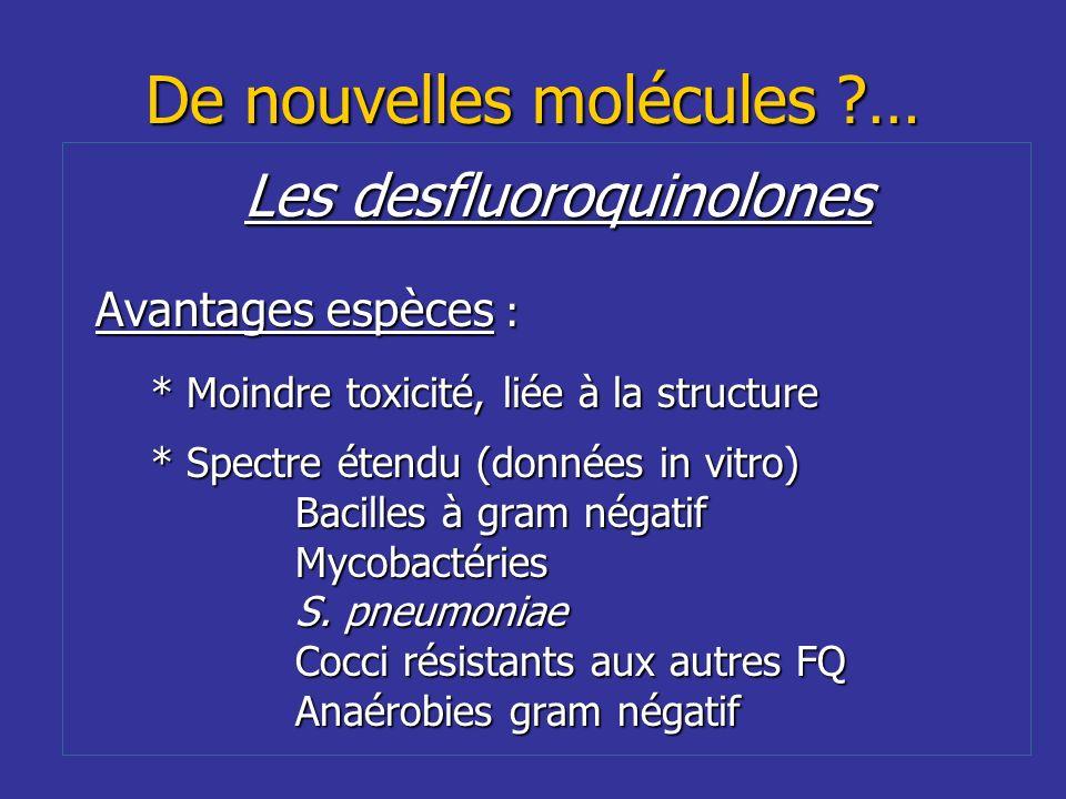 De nouvelles molécules ?… Les desfluoroquinolones Avantages espèces : * Moindre toxicité, liée à la structure * Spectre étendu (données in vitro) Baci