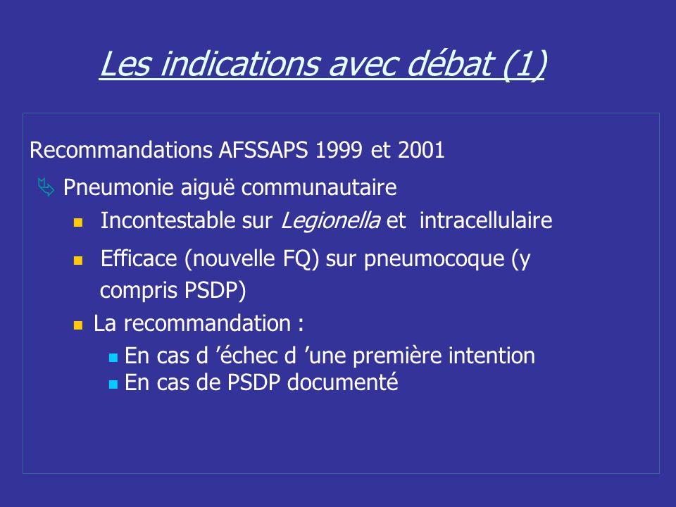 Les indications avec débat (1) Recommandations AFSSAPS 1999 et 2001 Pneumonie aiguë communautaire Incontestable sur Legionella et intracellulaire Effi