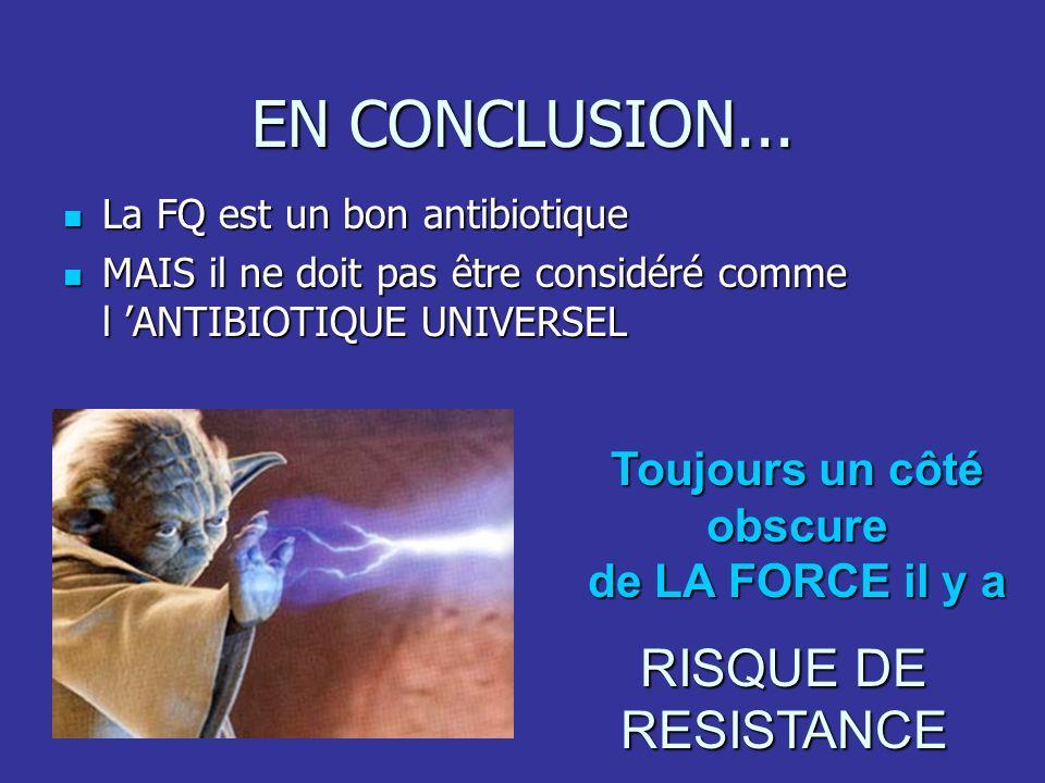EN CONCLUSION... La FQ est un bon antibiotique La FQ est un bon antibiotique MAIS il ne doit pas être considéré comme l ANTIBIOTIQUE UNIVERSEL MAIS il