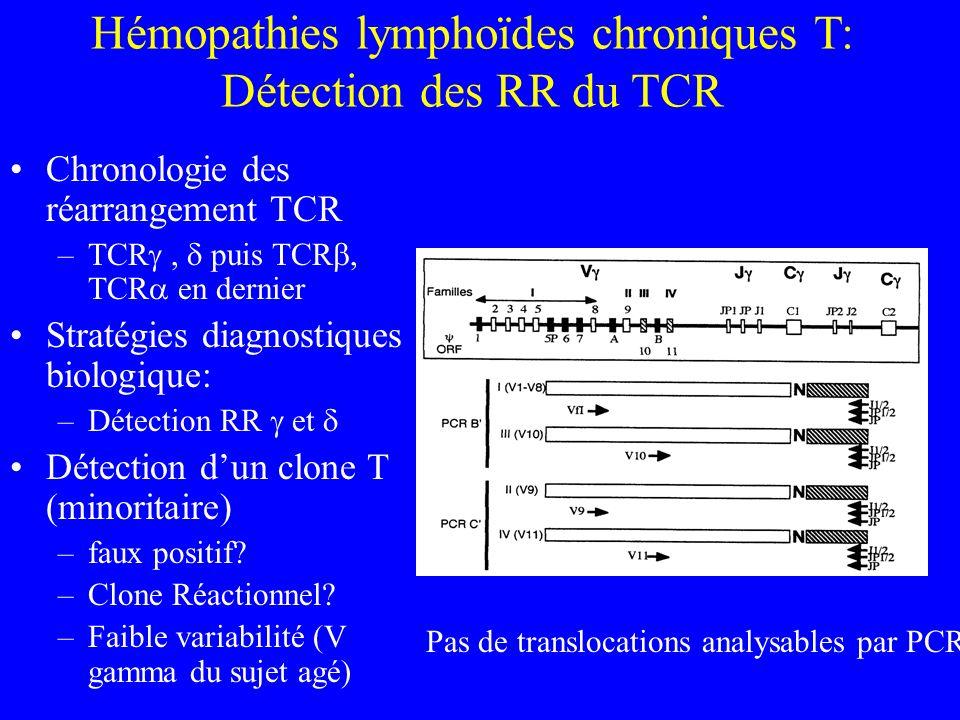 Hémopathies lymphoïdes chroniques T: Détection des RR du TCR Chronologie des réarrangement TCR –TCR, puis TCR, TCR en dernier Stratégies diagnostiques