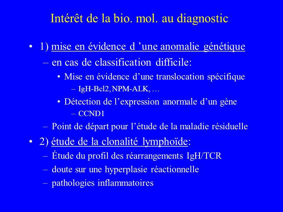 Intérêt de la bio. mol. au diagnostic 1) mise en évidence d une anomalie génétique –en cas de classification difficile: Mise en évidence dune transloc
