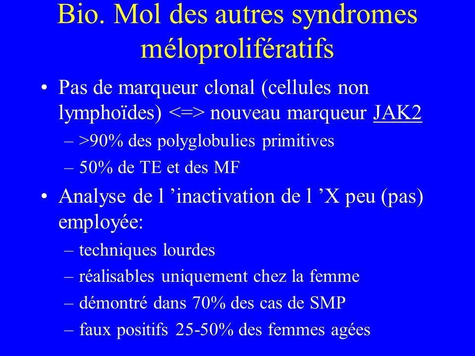 Bio. Mol des autres syndromes méloprolifératifs Pas de marqueur clonal (cellules non lymphoïdes) nouveau marqueur JAK2 –>90% des polyglobulies primiti