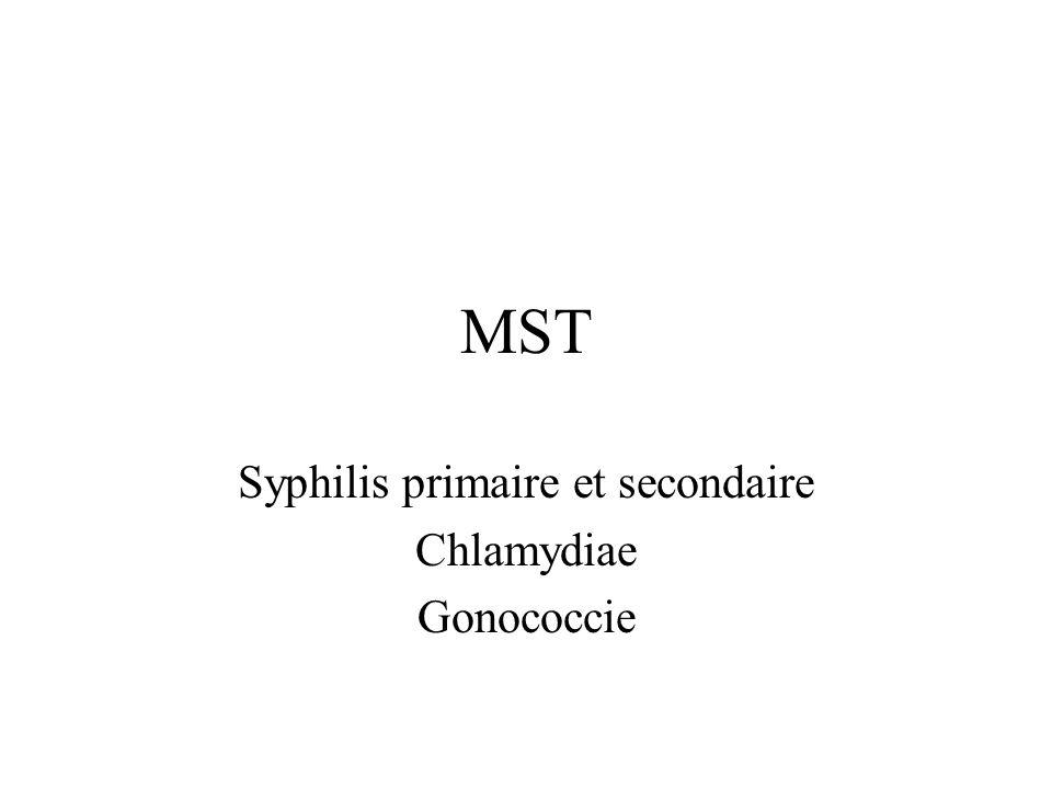 MST Syphilis primaire et secondaire Chlamydiae Gonococcie