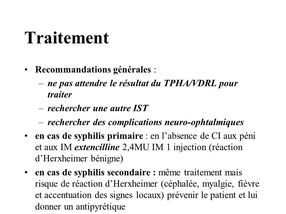 Traitement Recommandations générales : –ne pas attendre le résultat du TPHA/VDRL pour traiter –rechercher une autre IST –rechercher des complications