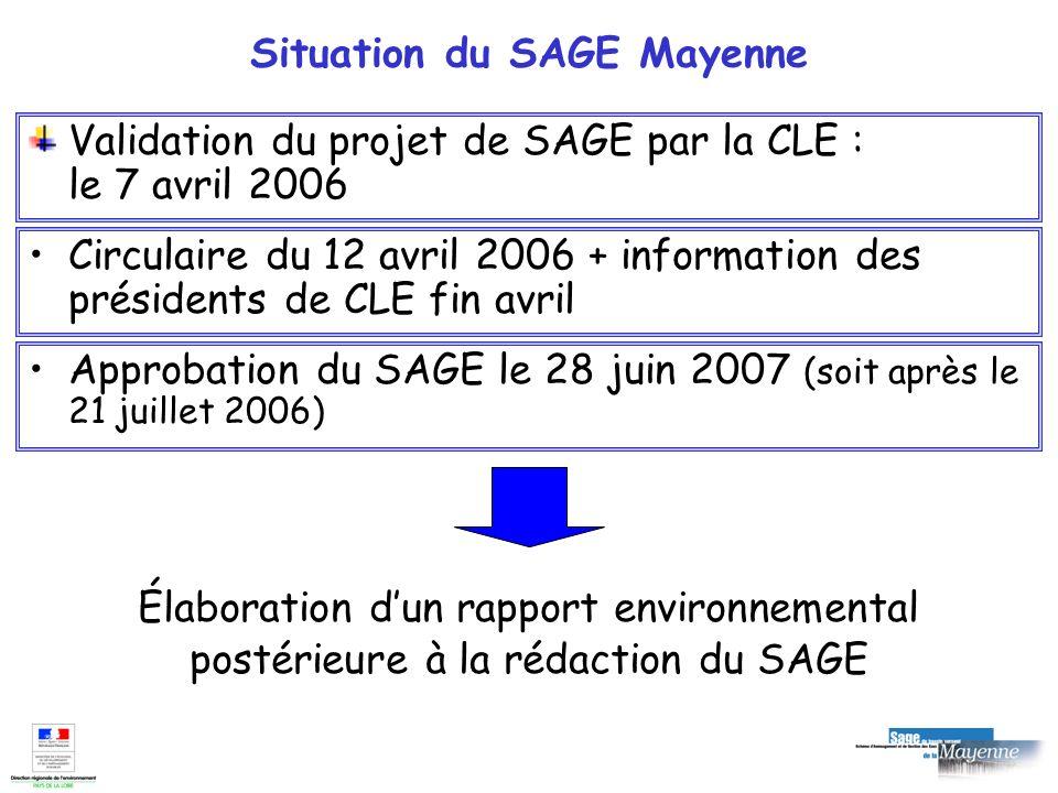 Situation du SAGE Mayenne Validation du projet de SAGE par la CLE : le 7 avril 2006 Approbation du SAGE le 28 juin 2007 (soit après le 21 juillet 2006