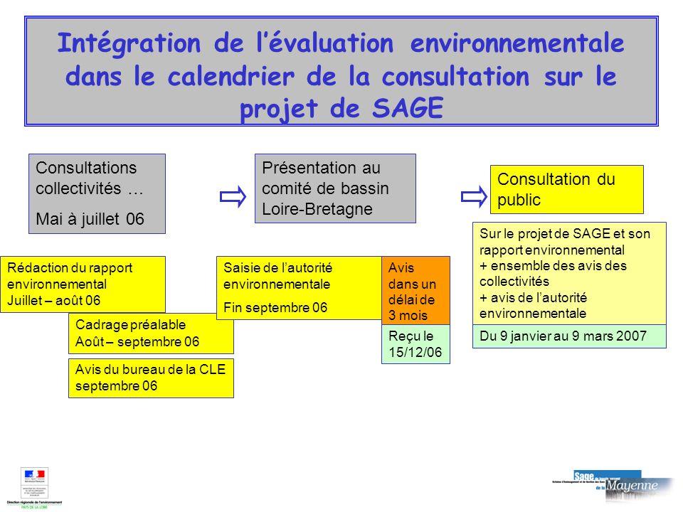 Consultations collectivités … Mai à juillet 06 Présentation au comité de bassin Loire-Bretagne Intégration de lévaluation environnementale dans le cal