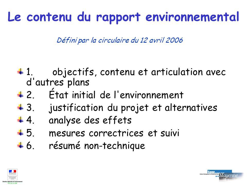 Le contenu du rapport environnemental 1. objectifs, contenu et articulation avec d'autres plans 2. État initial de l'environnement 3. justification du