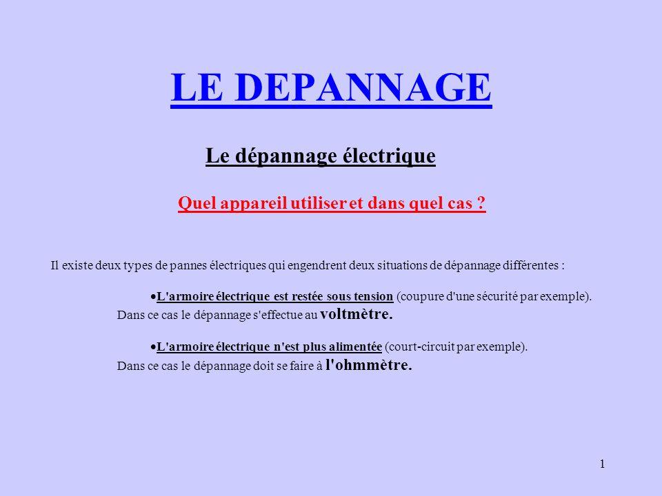 1 LE DEPANNAGE Le dépannage électrique Il existe deux types de pannes électriques qui engendrent deux situations de dépannage différentes : L'armoire