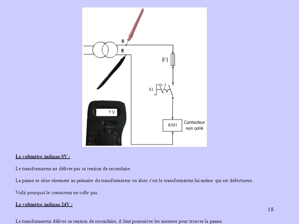 18 Le voltmètre indique 0V : Le transformateur ne délivre pas sa tension de secondaire. La panne se situe sûrement au primaire du transformateur ou al