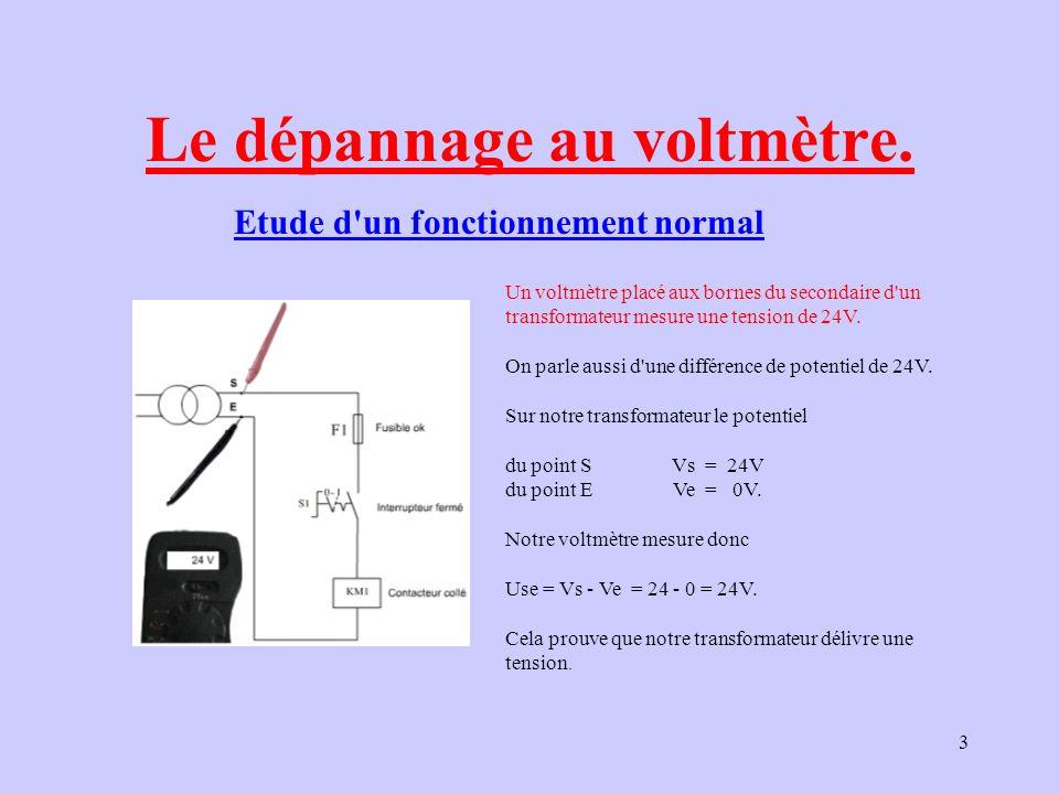 14 Le voltmètre indique 0V : Le potentiel 24V n arrive pas à la borne A1 du contacteur.