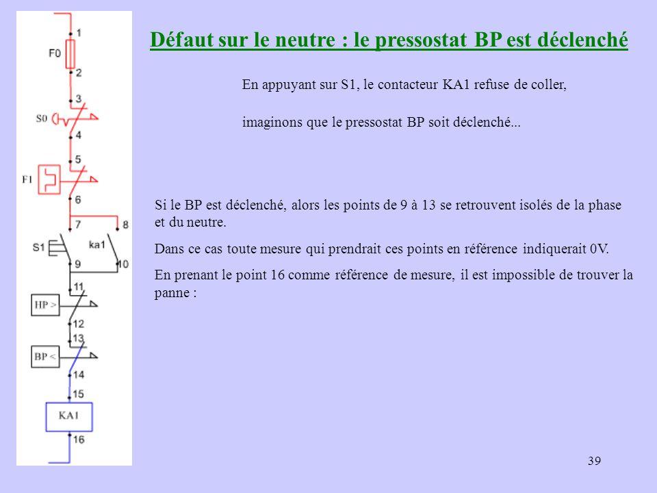 39 Défaut sur le neutre : le pressostat BP est déclenché En appuyant sur S1, le contacteur KA1 refuse de coller, imaginons que le pressostat BP soit d