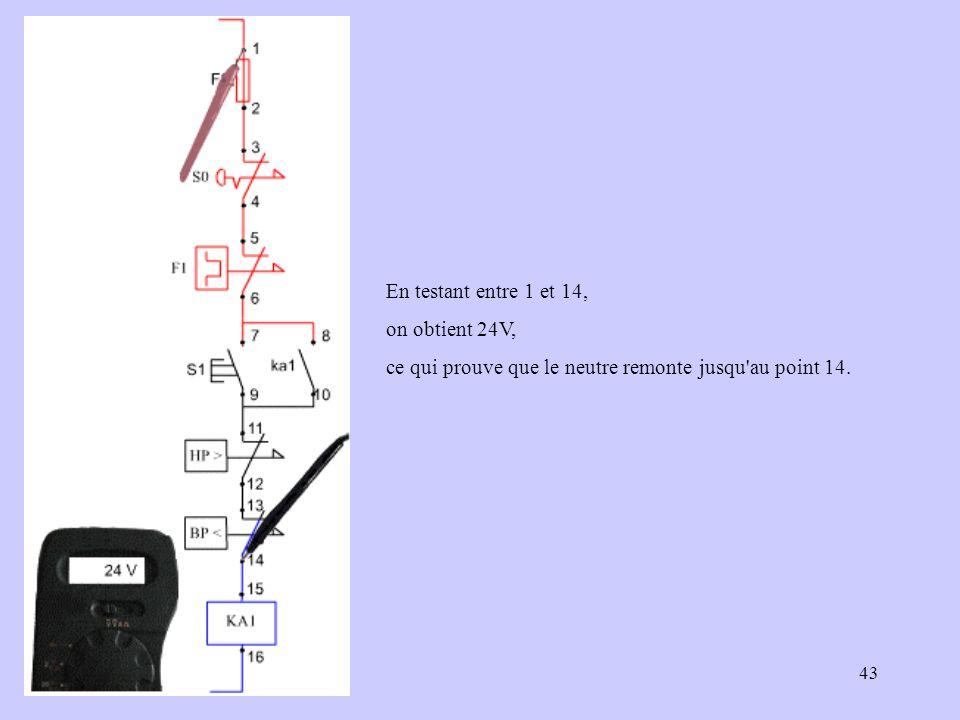43 En testant entre 1 et 14, on obtient 24V, ce qui prouve que le neutre remonte jusqu'au point 14.