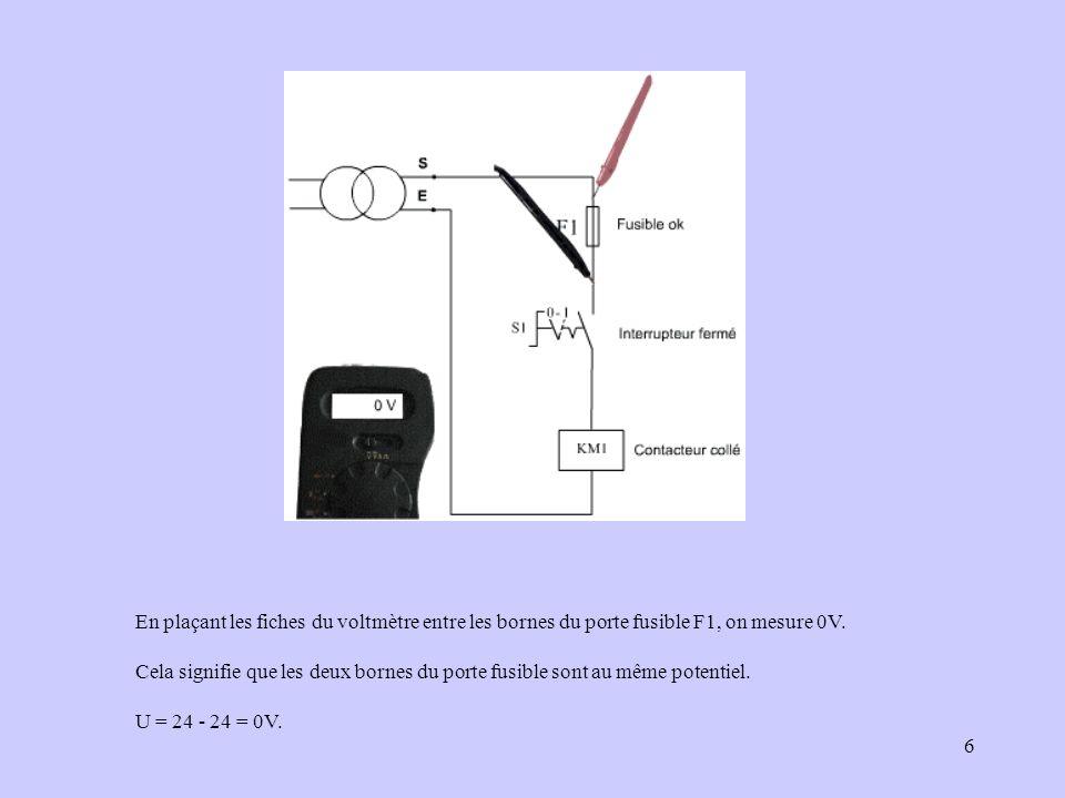 6 En plaçant les fiches du voltmètre entre les bornes du porte fusible F1, on mesure 0V. Cela signifie que les deux bornes du porte fusible sont au mê