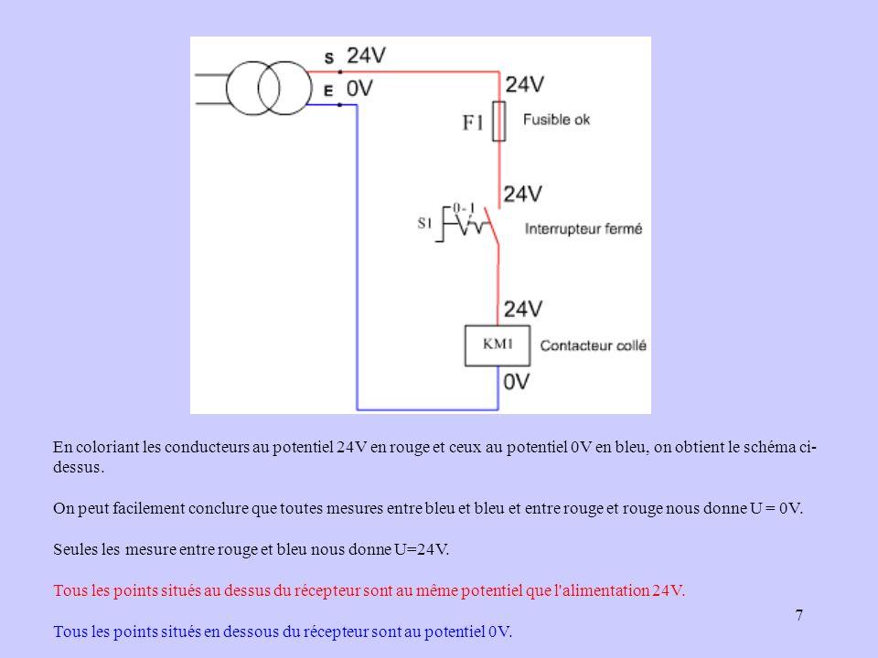 7 En coloriant les conducteurs au potentiel 24V en rouge et ceux au potentiel 0V en bleu, on obtient le schéma ci- dessus. On peut facilement conclure