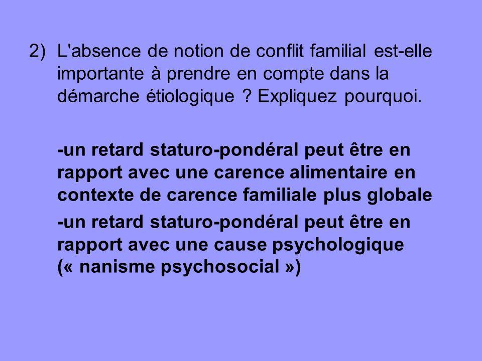 2)L'absence de notion de conflit familial est-elle importante à prendre en compte dans la démarche étiologique ? Expliquez pourquoi. -un retard statur
