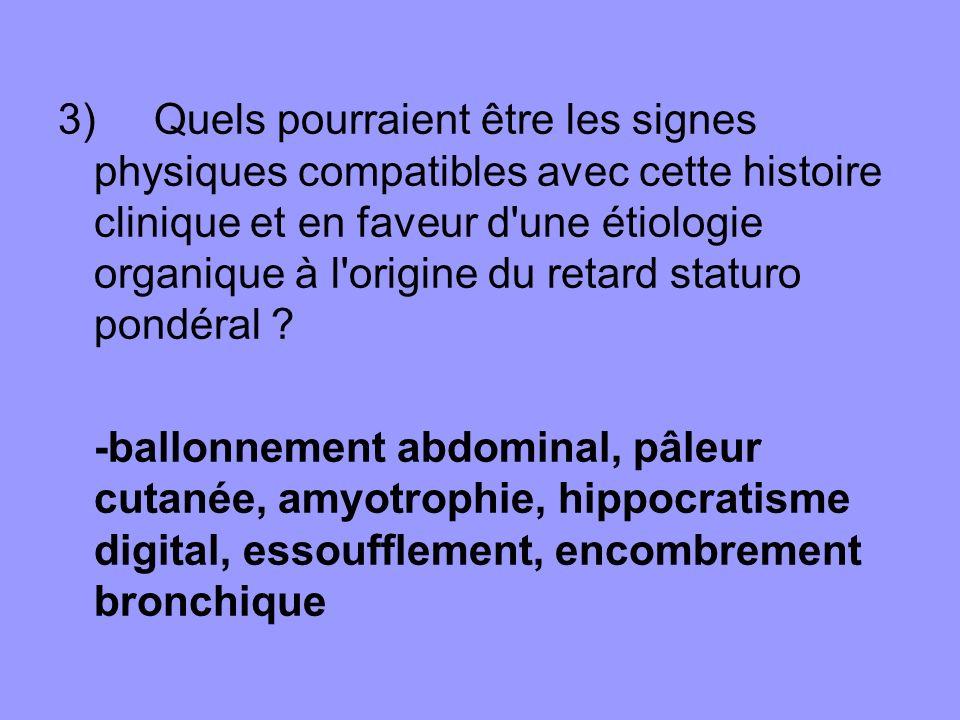 3) Quels pourraient être les signes physiques compatibles avec cette histoire clinique et en faveur d'une étiologie organique à l'origine du retard st